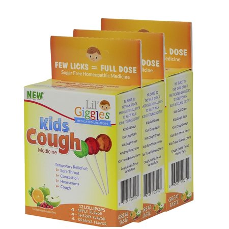 Lil' Giggles Kid's Medicated Lollipops for Cough- 3 Pack – For Children's Persistent and Chesty Coughs. Homeopathic Remedy. The Medicine Kid's will LOVE to