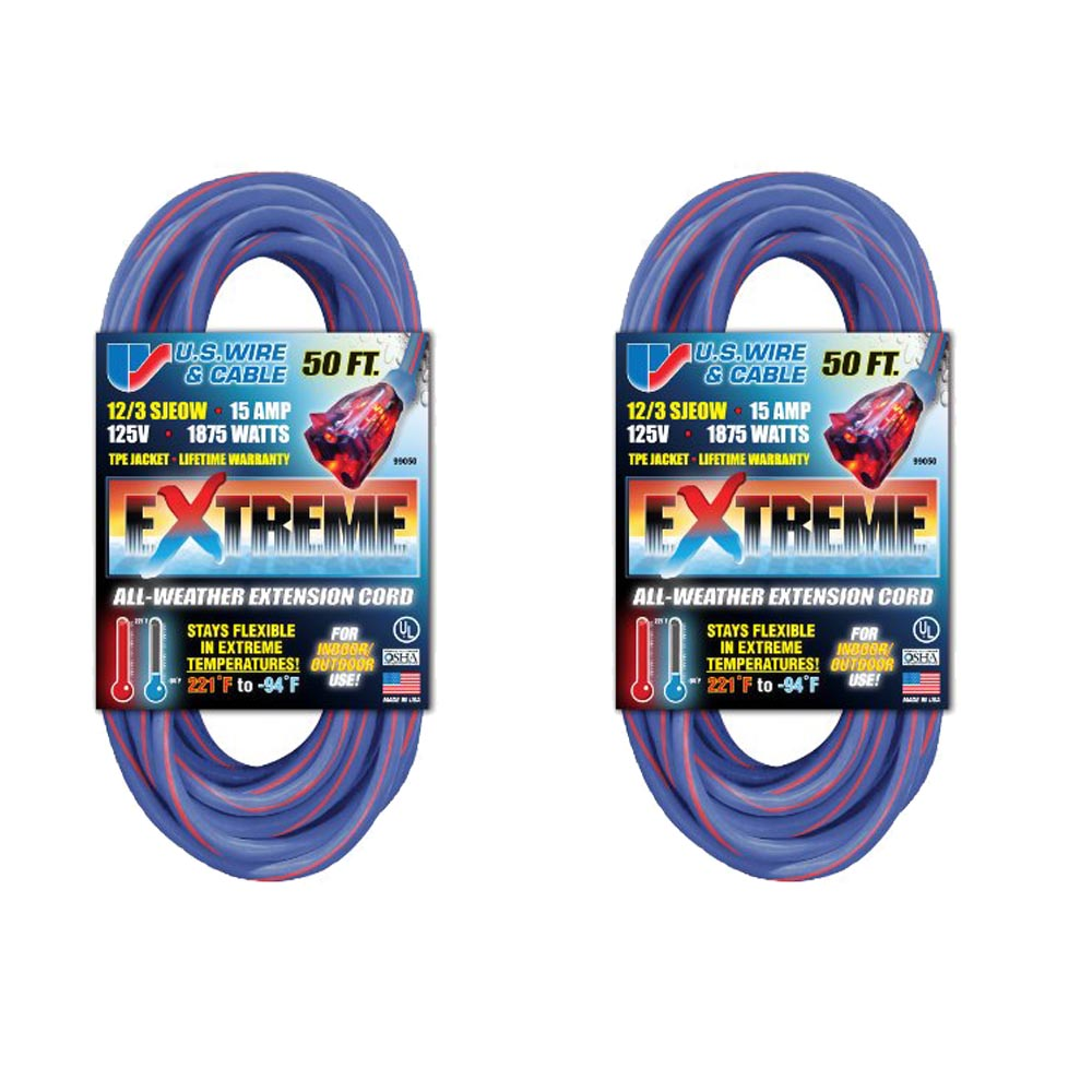 US Wire 99050 50-Foot Cold Weather Lighted Plug Extension Cord (Blue ...