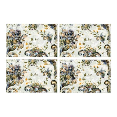 MKHERT Paisley Floral Ornamental Ethnic Placemats Table Mats for Dining Room Kitchen Table Decoration 12x18 inch,Set of 4 ()