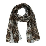 CTM®  Leopard Print Lightweight Satin Scarf (Women's)