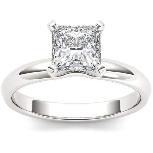 1 Carat T.W. Diamond Princess-Cut Solitaire 14kt White Gold Engagement Ring