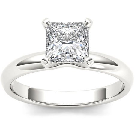 1 Carat T.W. Diamond Princess-Cut Solitaire 14kt White Gold Engagement Ring
