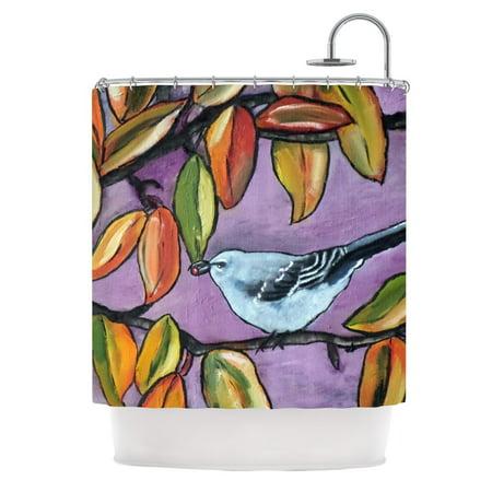 Kess InHouse Cathy Rodgers Mockingbird Purple Orange Shower Curtain 69x70