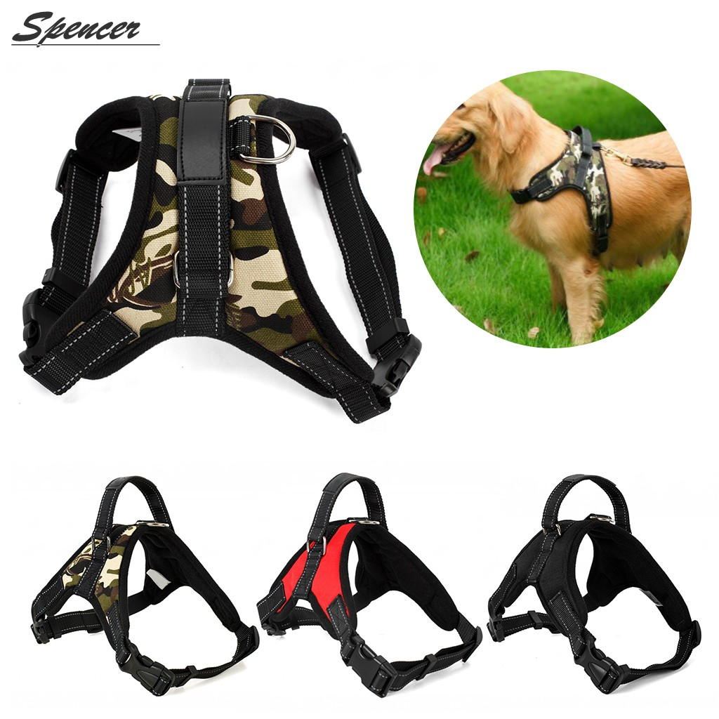 Spencer No Pull Adjustable Dog Vest Harness For Large Medium Dogs Puppy Harness Chest Strip Leash (Black,S)