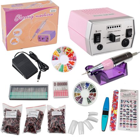 iMeshbean 30,000 RPM Electric Nail Drill Kit Machine File Bits Manicure Art, Pink