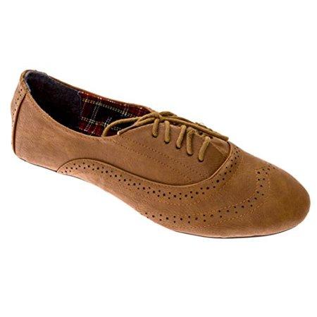 d9304346f3 dELiA*s - Delias Women's Lace-Up Wingtip Oxford Ballet Flat Shoe in Chestnut  Size: 10 - Walmart.com