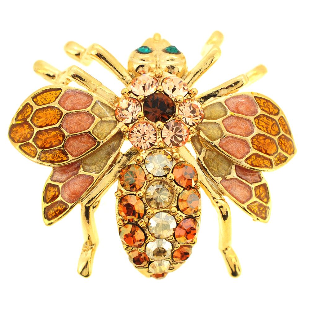 Golden Topaz Bee Bug Swarovski Crystal Pin Brooch by Topaz Brooches