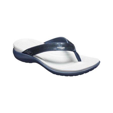 5702a3bea46b Crocs - Women s Crocs Capri V Sequin Thong Sandal - Walmart.com