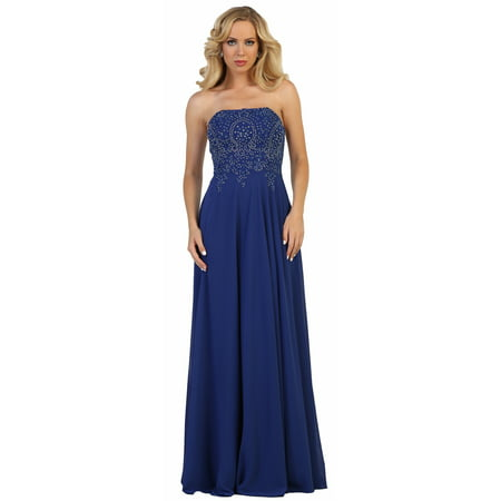 - STRAPLESS PROM EVENING GOWN CORSET BACK & PLUS SIZE