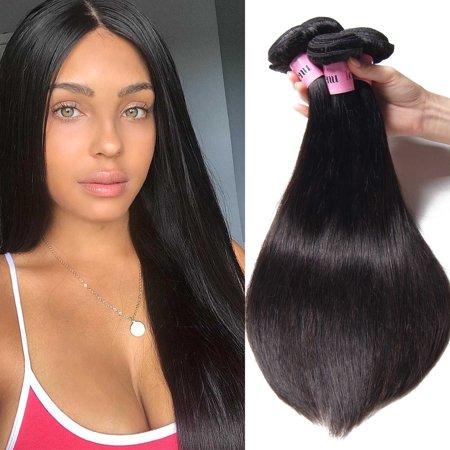 Unice Hair 3 Bundles Indian Hair Straight Human Hair Weaves Natural Color 3piece/Lot, 8