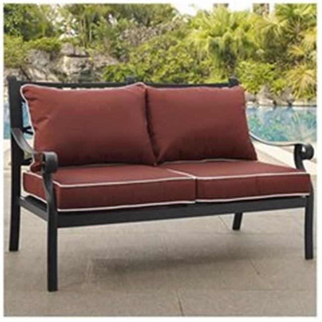 Portofino Cast Aluminum Love Seat with Sangria Cushions, Charcoal Black