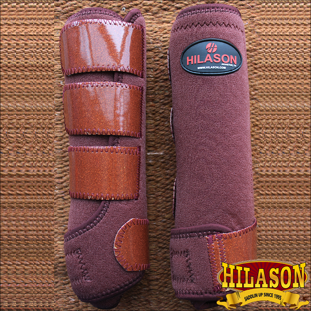 LARGE HILASON GLITTER BROWN HORSE FRONT LEG PROTECTION ULTIMATE SPORTS BOOT PAIR
