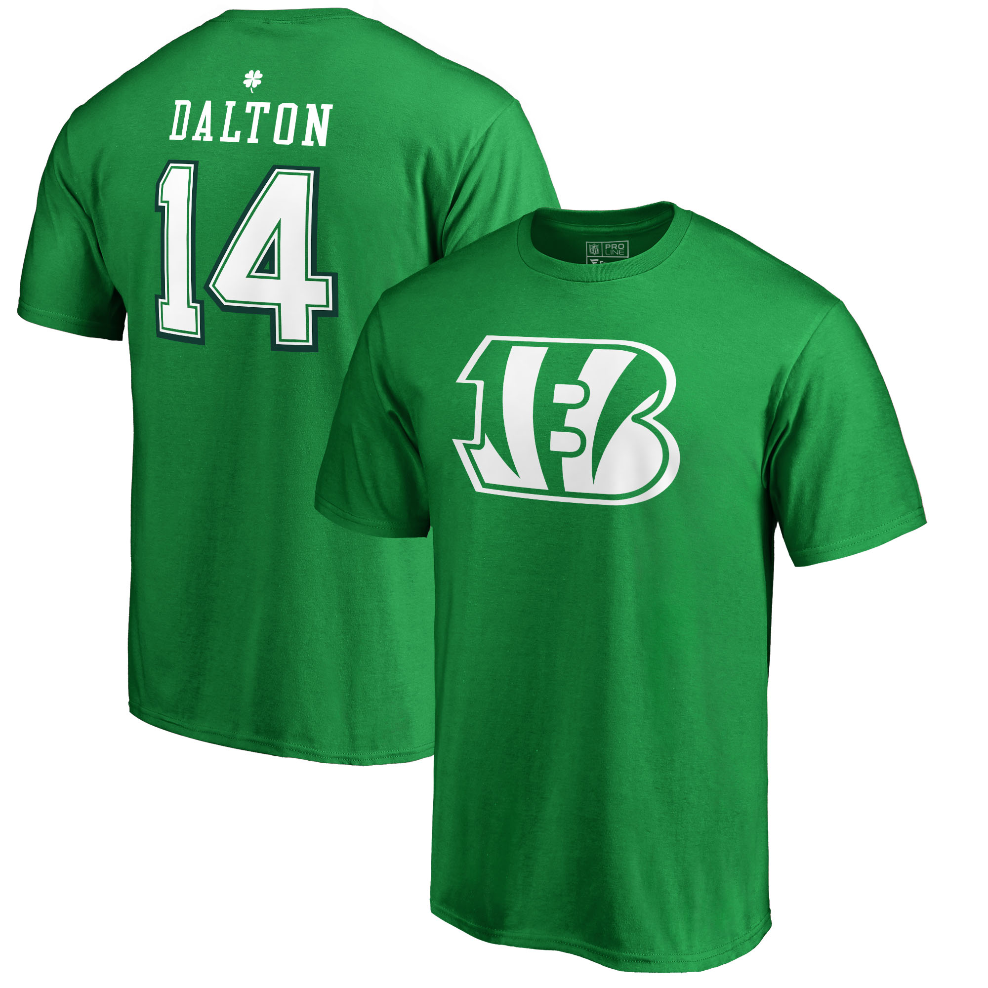 Andy Dalton Cincinnati Bengals NFL Pro Line by Fanatics Branded St. Patrick's Day Icon Name & Number T-Shirt - Kelly Green
