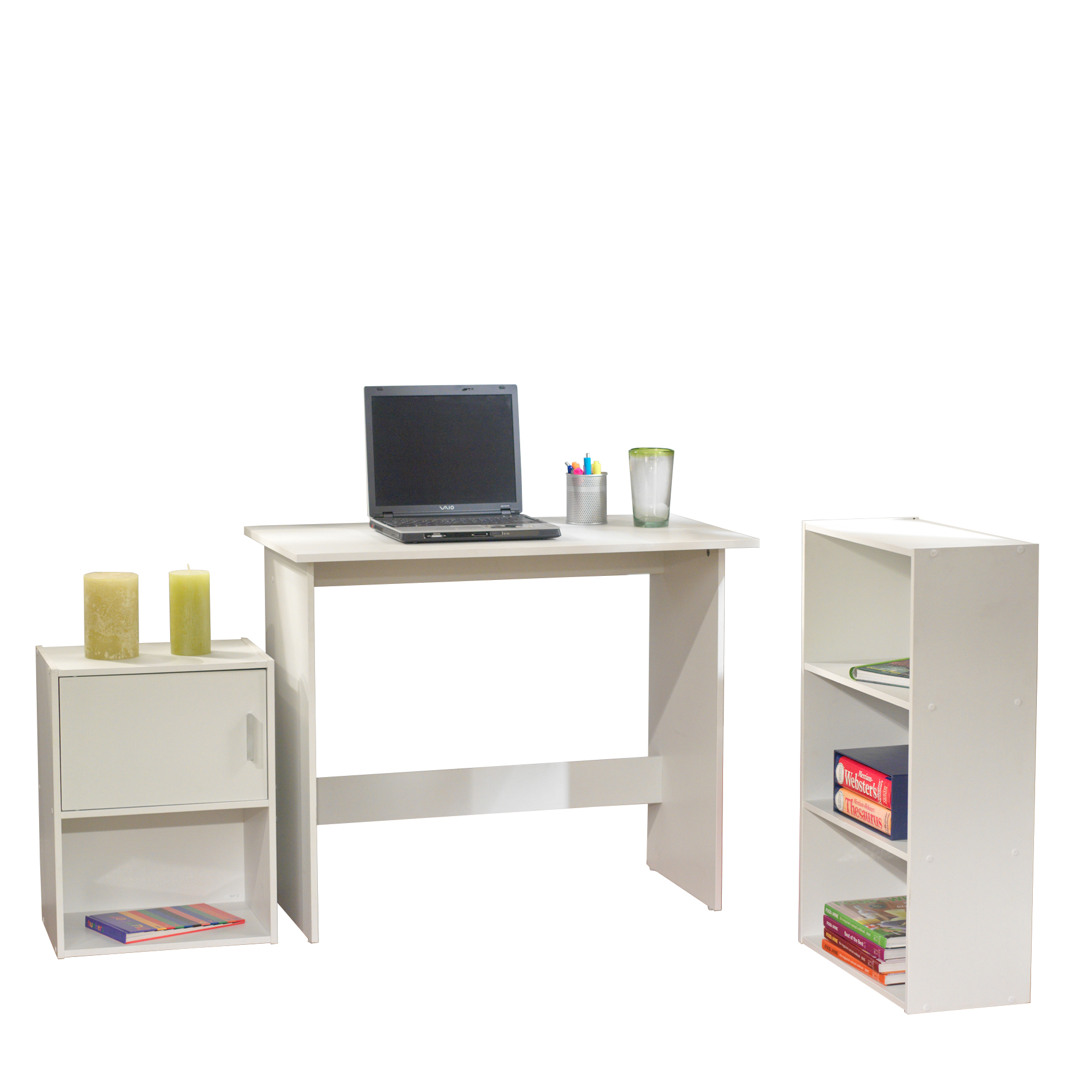 Soho 31 Piece Office Collection with Desk, Bookcase and Storage Cube, White  Finish