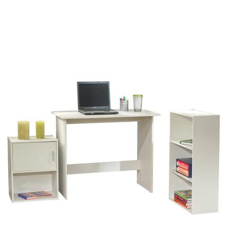 Awesome Soho Study Set With Desk Bookcase And Storage Cube 3 Piece White Interior Design Ideas Tzicisoteloinfo