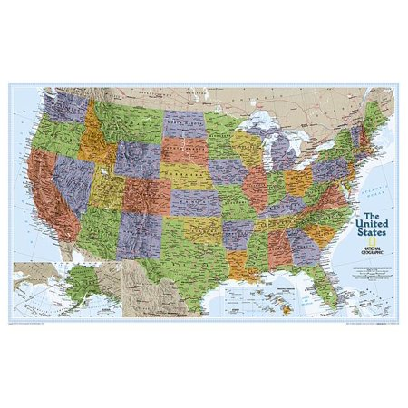 - National Geographic: United States Explorer Wall Map - Laminated (32 X 20.25 Inches)