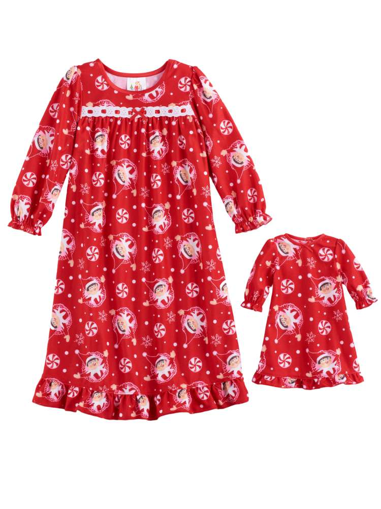 Toddler & Girls Red Flannel Elf On The Shelf Nightgown & Doll Night Gown Set