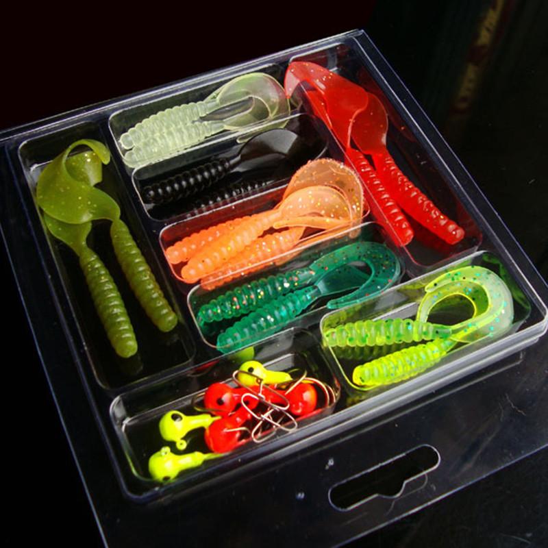 25Pcs Soft Worm Lure Lure Set Head Jig Hooks Fishing Baits Set Tackle by