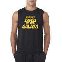 Trendy USA 715 - Men's Sleeveless Best Dad in The Galaxy Star Wars Opening Crawl Large Black
