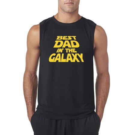 Trendy USA 715 - Men's Sleeveless Best Dad in The Galaxy Star Wars Opening Crawl Large