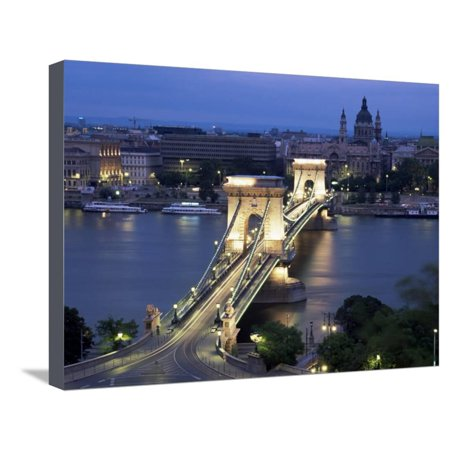 View Over Chain Bridge and St. Stephens Basilica, Budapest, Hungary Stretched Canvas Print Wall Art By Gavin Hellier