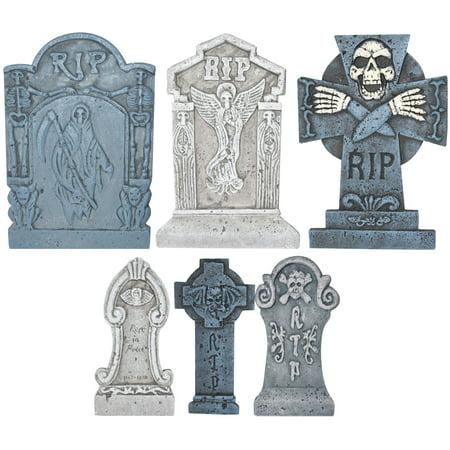 Way To Celebrate Halloween Ominous Graveyard Tombstone Set, 6 (Halloween Tombstones)