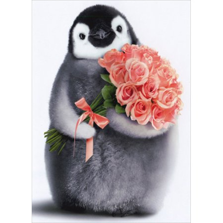 Avanti Press Penguin With Flower Bouquet Birthday Card