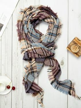 Womens Blanket Scarf Fashion Plaid Scarfs Warm Tartan Chunky Wrap Oversized Shawl Cape Scarves
