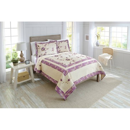 Better Homes & Gardens Full Queen Purple Blossoms Quilt, 1 Each