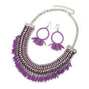 Silvertone Bib Style Bead Mix with Rhinestones Plating Necklace (Lavender)