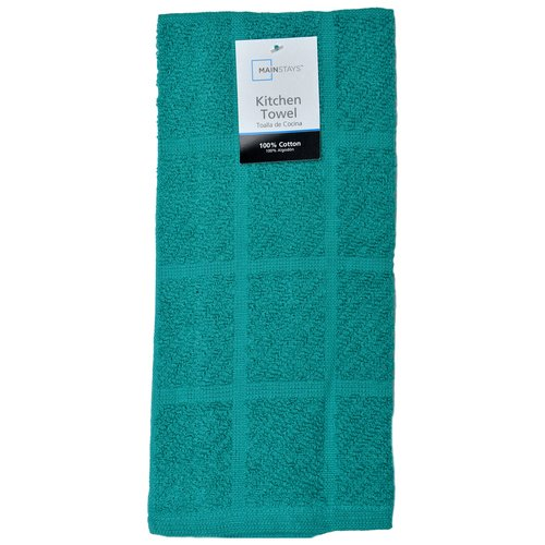 Mainstays Single Solid Terry Kitchen Towel, Teal Island