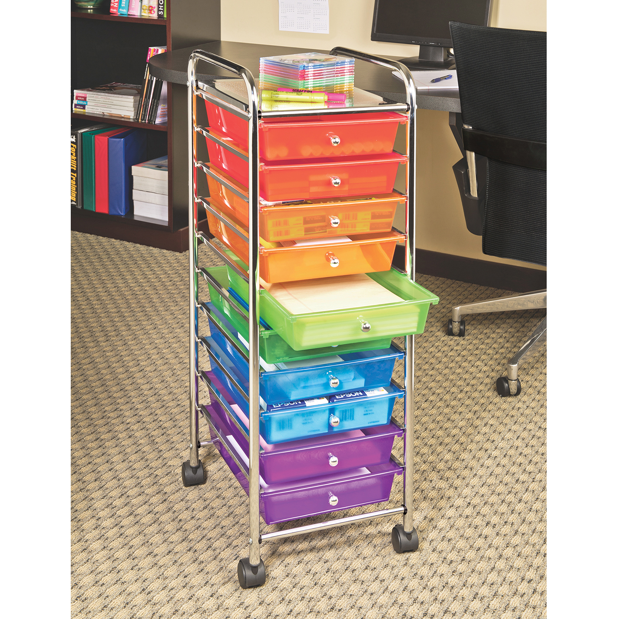 10 Drawer Organizer Cart W/ Wheels, Pearl Multi Color By Seville Classics    Walmart.com