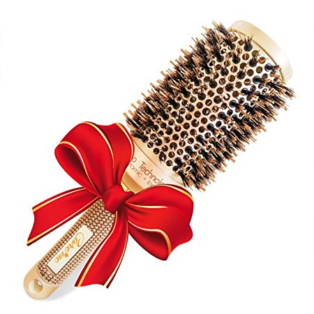 Boar Bristle Round Hair Brush (1.7 inch) for Blow Dry - Professional Salon Quality Hair Styling Tool for Naturally Silky, Shiny, Smooth & Bouncy -