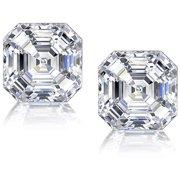 Asscher-Cut CZ Sterling Silver Stud Earrings