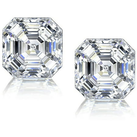 Asscher-Cut CZ Sterling Silver Stud Earrings ()