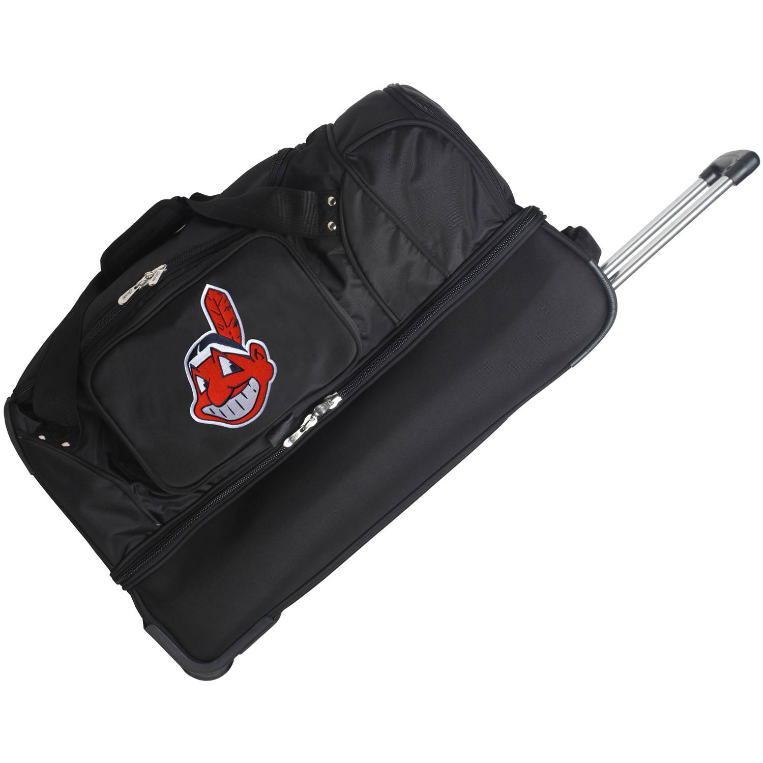 "Cleveland Indians 27"" 2-Wheel Rolling Drop Bottom Duffel Bag - Black - No Size"