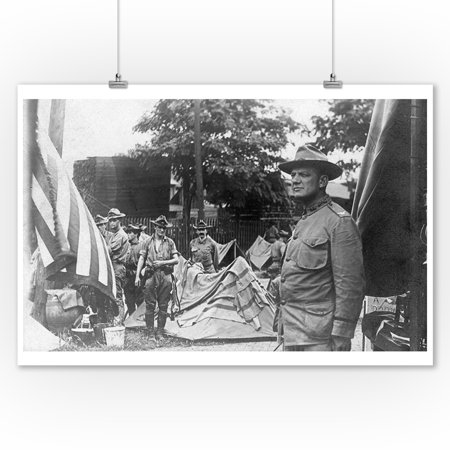 Springfield  Illinois   First Cavalry Setting Up Camp  9X12 Art Print  Wall Decor Travel Poster