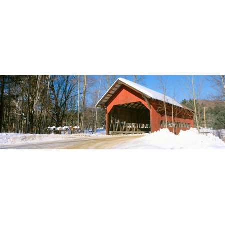 Panoramic Images PPI159983S Covered Bridge Stowe Winter Vermont Poster Print, 27 x 9 - image 1 of 1