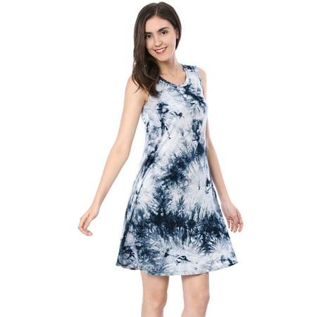 Unique Bargains Women's A-Line Sleeveless Above Knee Tie-Dye Dress (Unique Dresses)