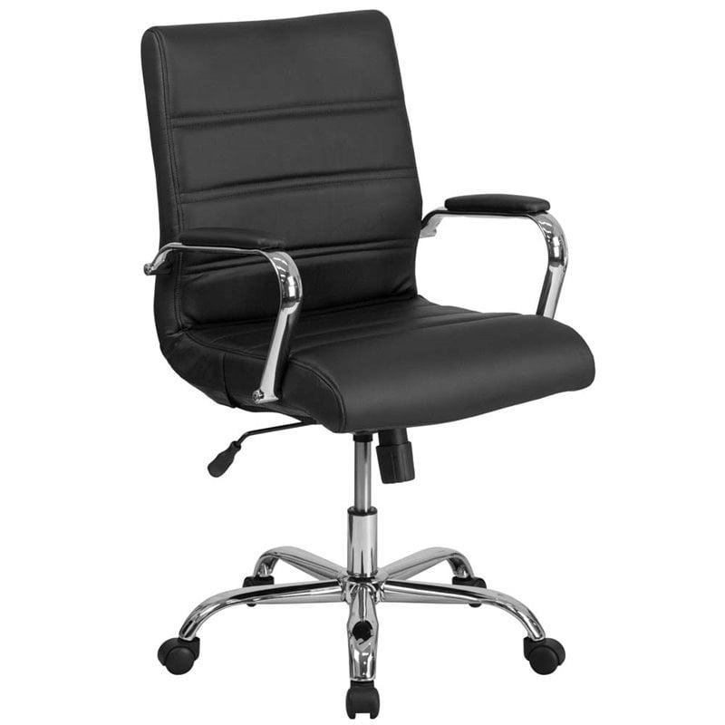Scranton & Co Mid Back Leather Swivel Office Chair in Black