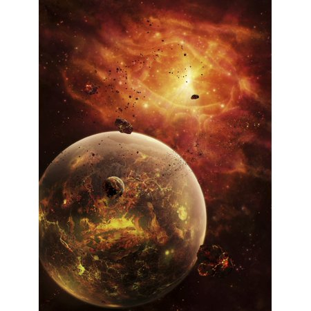An eye-shaped nebula and ring of glowing debris around a planetary system Canvas Art - Brian ChristensenStocktrek Images (12 x 16) (Planetary Ring Systems)