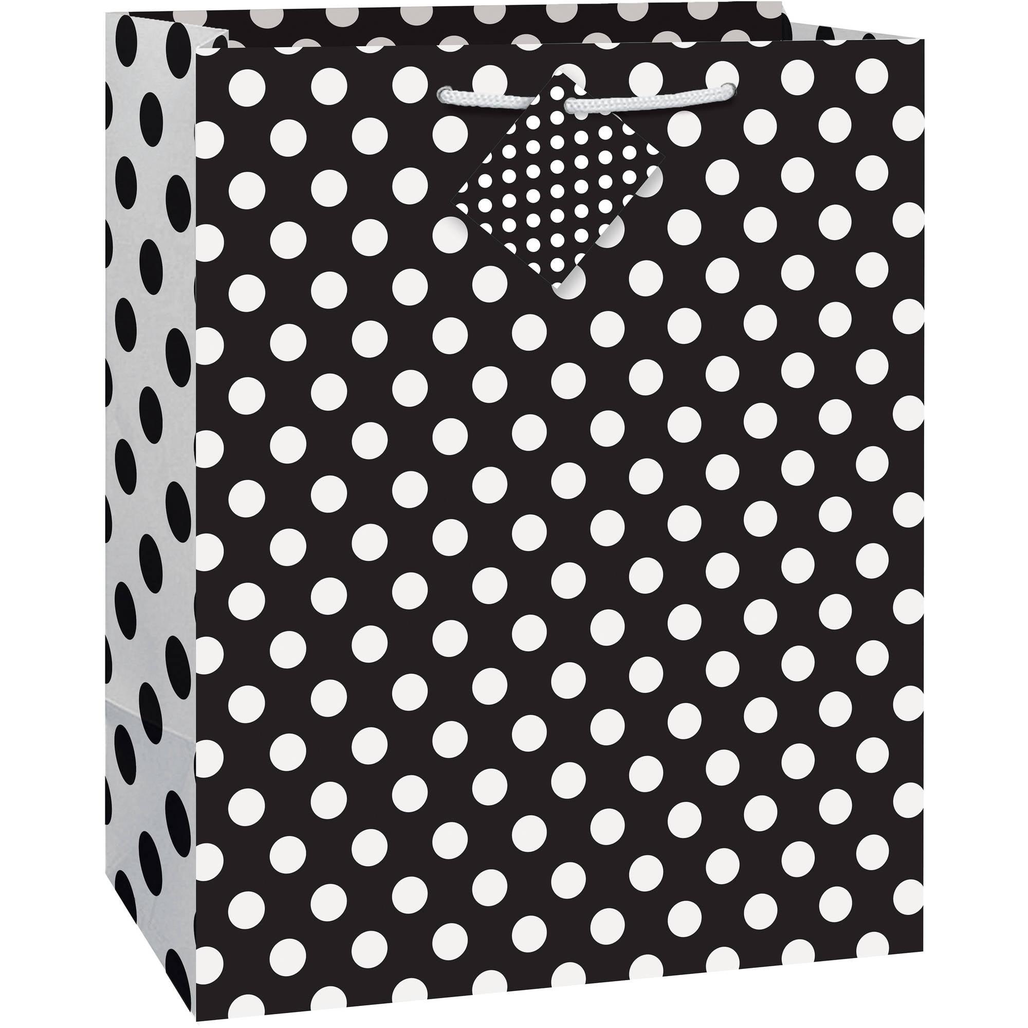 "Black Polka Dot Gift Bag, 12.75"" x 10.5"""