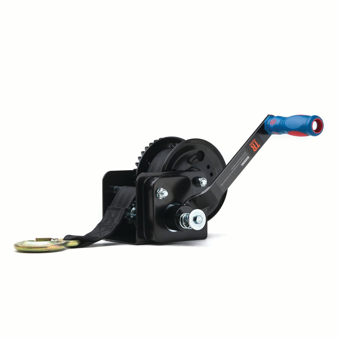 TR Industrial 1600 lb. Trailer Winch with Brake, Pre-Installed 20 ft Strap and Hook by TR Industrial