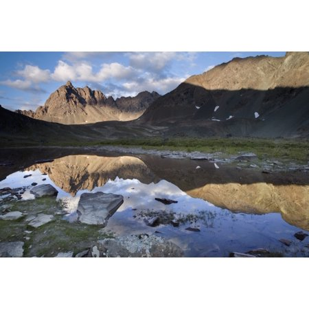 Clearwater Mountains Reflecting In Lake In Interior Alaska During Summer Posterprint