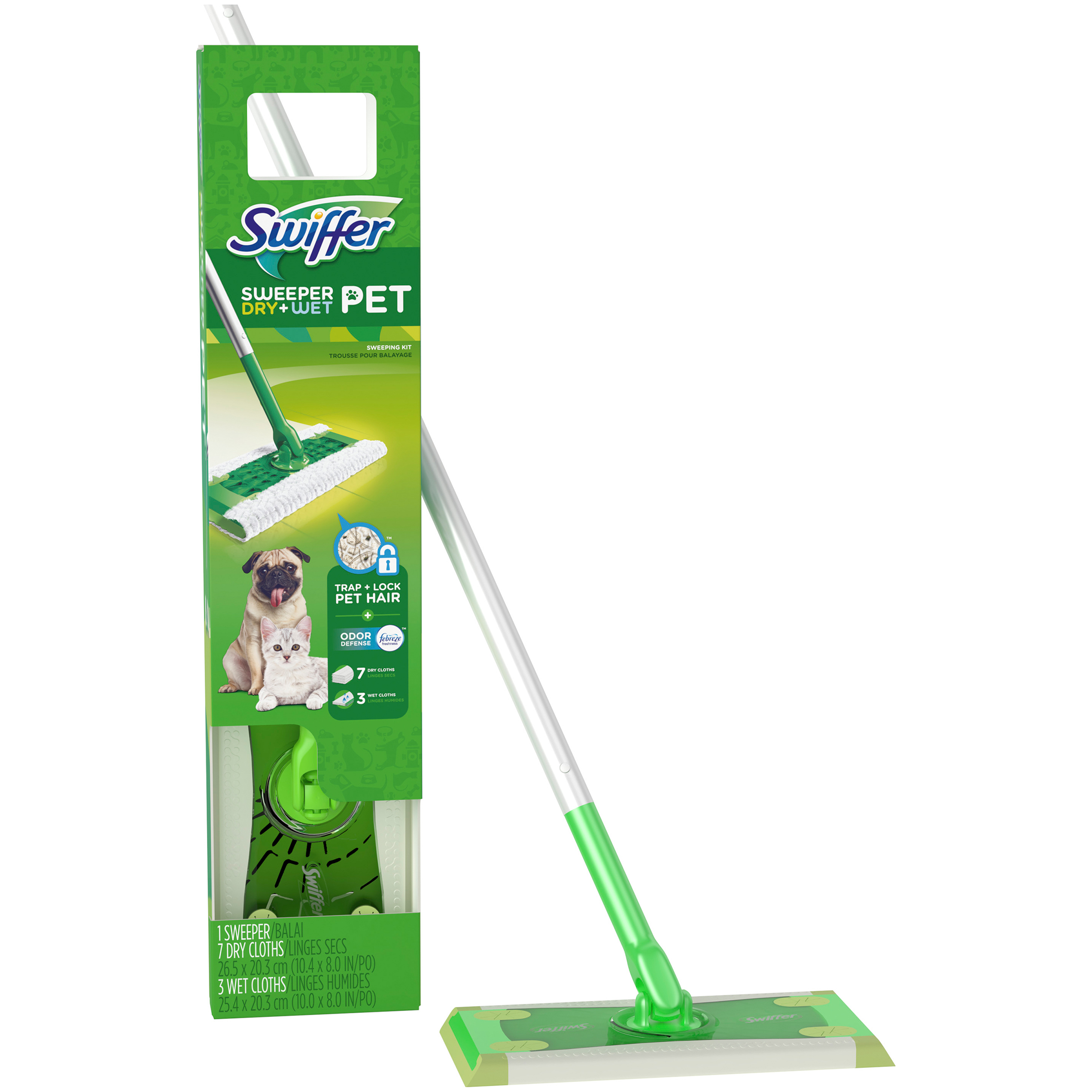 Swiffer® Sweeper Pet Dry + Wet Sweeping Kit (1 Sweeper, 7 Dry Cloths, 3 Wet Cloths)