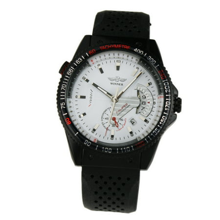 White Automatic Mechanical Mens Wrist Watch Rubber Strap Pin Buckle Self-winding