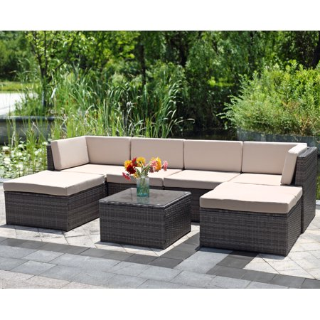 7 Piece Outdoor Wicker Sofa Wisteria Lane Patio Furniture Set Garden Rattan Cushioned Seat With Coffee Table Gray