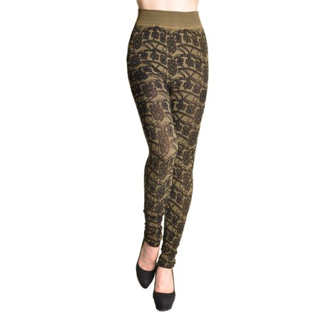 Womens Cotton Floral Lace Jacquarded Footless Leggings Pants NEW (Lace Ruffle Leggings)