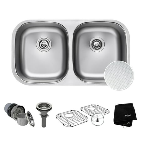 - KRAUS Outlast MicroShield™ Scratch-Resist Stainless Steel Undermount 50/50 Double Bowl Sink, 32