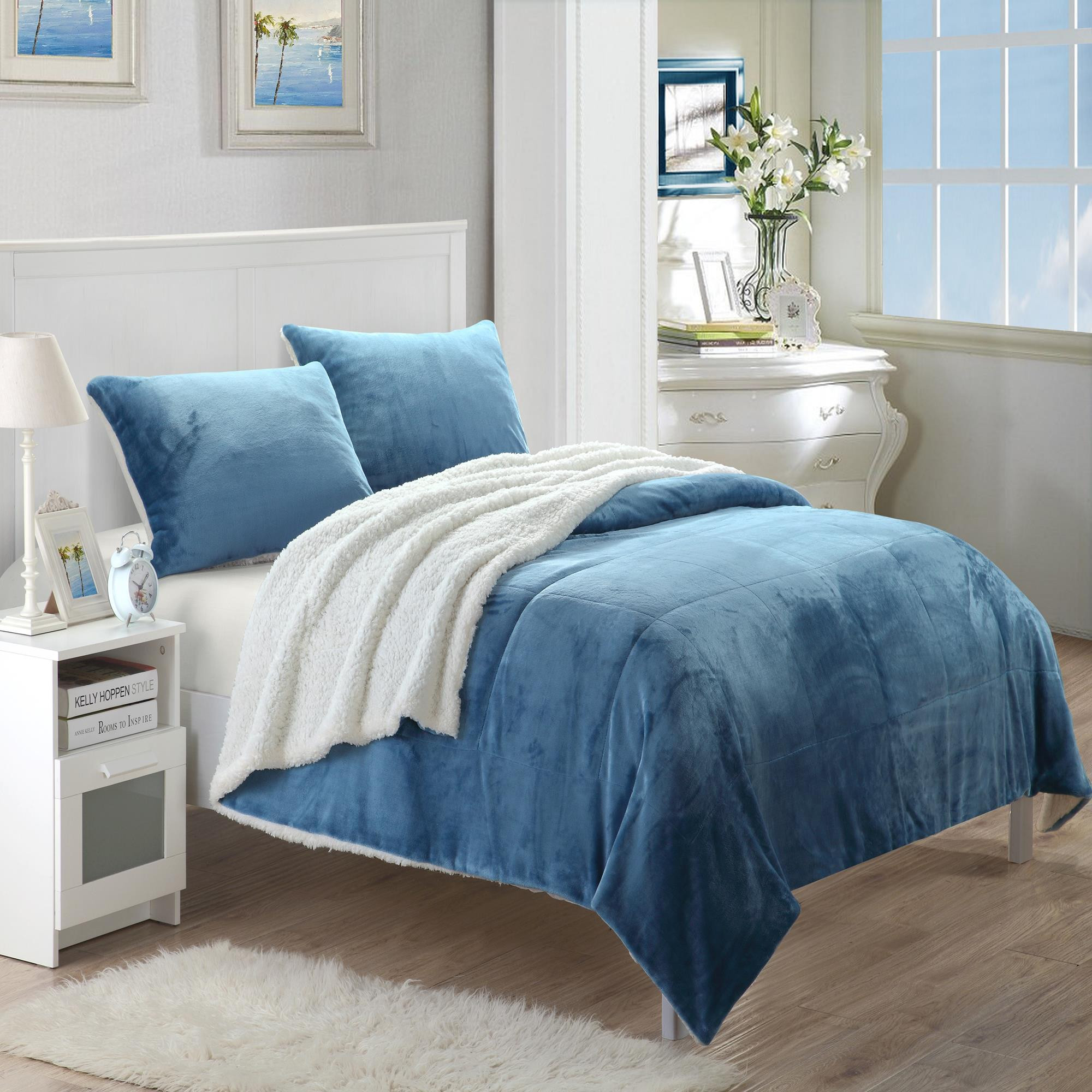 Evie Plush Microsuede Sherpa Lined Blue 3 Piece Blanket & Shams Set